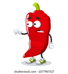 cartoon scared red chili pepper mascot in sneakers on a white background