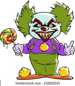 cartoon scary clown isolated