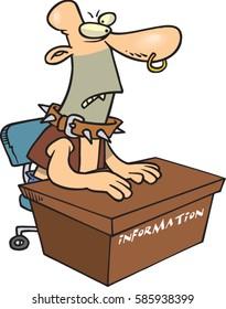 cartoon scary man at information desk