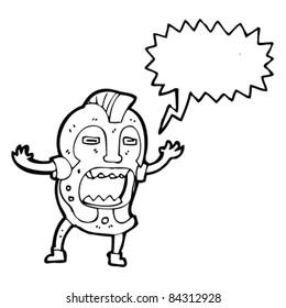 cartoon scary mask man shouting