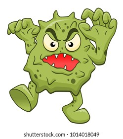Cartoon scary microbe isolated on white background