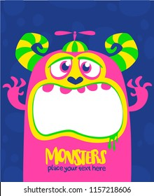 Cartoon scary monster. Vector Halloween pink cool monster. Big set of monster faces. Package design