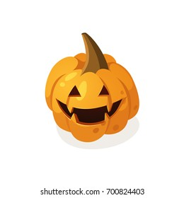 Cartoon scary pumpkin isolated on white background. Hand drawn Halloween illustration. Vector harvest