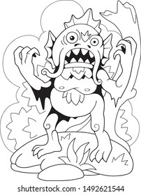 cartoon scary swamp monster, coloring book, funny illustration