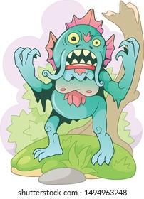 cartoon scary swamp monster, funny illustration