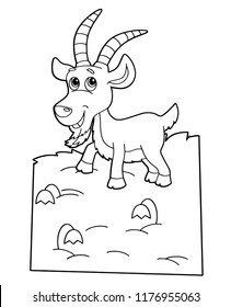 cartoon scene with happy goat on white background - vector coloring page - illustration for children
