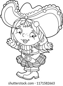 cartoon scene with pirate girl - vector coloring page - illustration for children