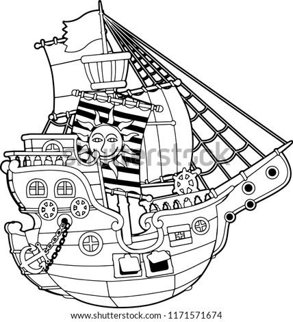 Cartoon Scene Pirate Ship Vector Coloring Stock Vector (Royalty Free ...