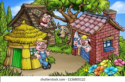 A cartoon scene from the three little pigs childrens fairytale story. The 3 pig characters with their straw, wood and brick houses and the big bad wolf peeking from behind a tree.