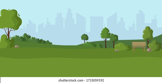 Cartoon scenery or green park - nature outdoor green place with trees, stones, bushes and lawn, city view on background, cute square in town - vector illustration for banner