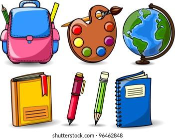 Cartoon school bags, pencils, books, notebooks, pen, globe, palette of paints