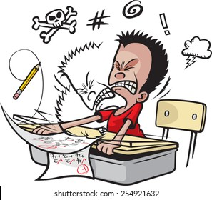Cartoon of a school boy banging his head on his desk top. Vector file available.Schoolboy Banging Head