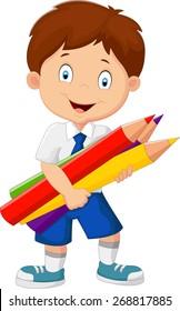 Cartoon school boy holding colorful pencils