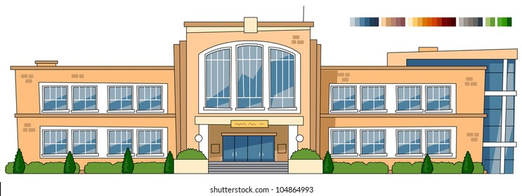 school building cartoon images stock photos vectors shutterstock rh shutterstock com cartoon school building with fish cartoon school building vector illustration