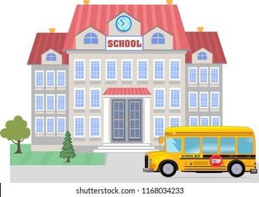 Cartoon school bus and School building