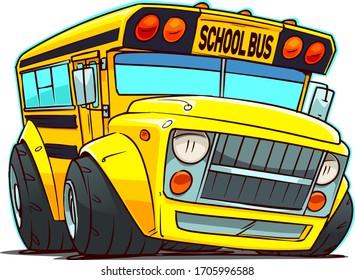 Cartoon School Bus. Chop Top Car