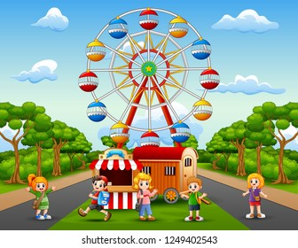 Cartoon of school children having fun at amusement park