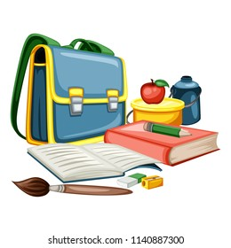 Cartoon School Equipment, Back to School Concept, Vector Illustration  of Backpack, Books, Lunchbox, Eraser and Brush Isolated on White Background. Set of School Stationery Tools, Office Supplies