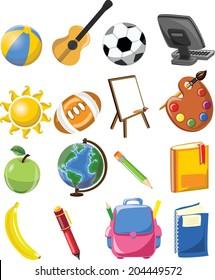 Cartoon school icons
