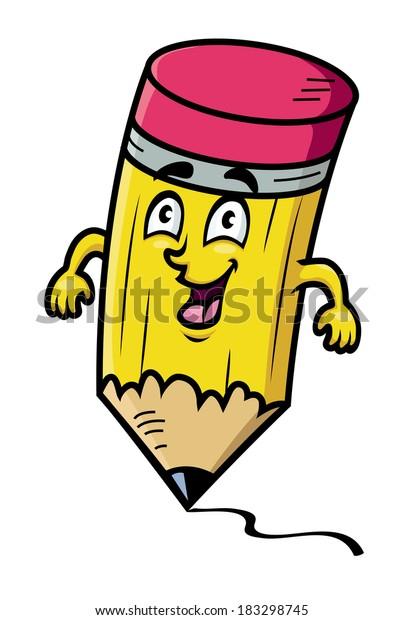 Cartoon School Pencil Logo Drawing Line Stock Vector Royalty Free 183298745