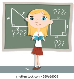 cartoon schoolgirl confused about math problem standing in front of classroom.