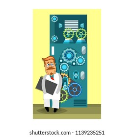 A cartoon scientist with glasses and a white coat is standing next to complex equipment. Vector illustration