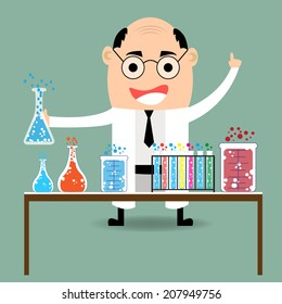 cartoon scientist with glassware