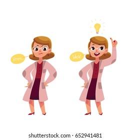 Cartoon scientist got an idea vector illustration. Character of professor with light bulb above head