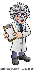 A cartoon scientist professor wearing lab white coat holding a clipboard and pointing at it