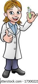 A cartoon scientist professor wearing lab white coat holding a test tube and giving a thumbs up
