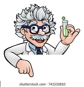 A cartoon scientist professor wearing lab white coat peeking above sign with a test tube and pointing at it