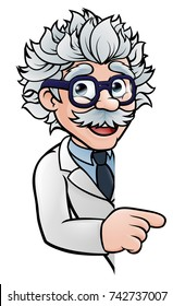 A cartoon scientist professor wearing lab white coat peeking around sign and pointing at it