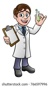 A cartoon scientist professor wearing lab white coat holding a test tube and clipboard