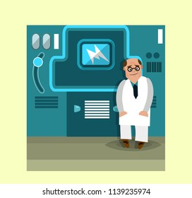 A cartoon scientist in a white coat is standing next to the complex equipment. Vector illustration