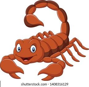 Cartoon scorpion on white background
