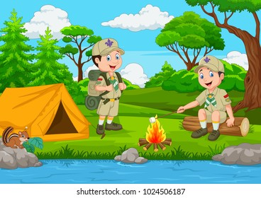 Cartoon scout with tent and camp fire