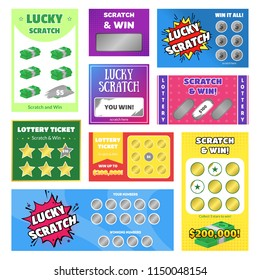 Cartoon Scratch Cards and Lottery Ticket Different Types Set Win Concept Element Flat Design Style. Vector illustration of Card