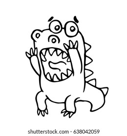 Cartoon screaming dragon. Vector illustration. Funny cute scared character.
