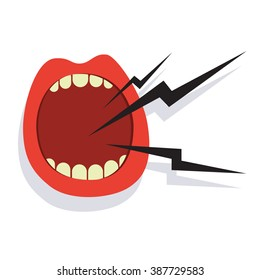 Cartoon screaming mouth icon isolated on white background
