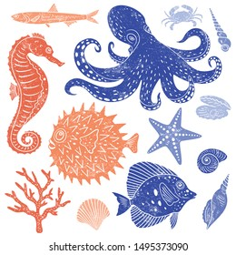 Cartoon sea animals collection with fine texture. Set of hand drawn sea creatures for prints, textile, wallpaper, childish background. Vector illustration.