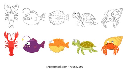 Cartoon sea animals set. Coloring book pages for kids. Lobster, anglerfish, puffer, sea turtle, hermit crab.