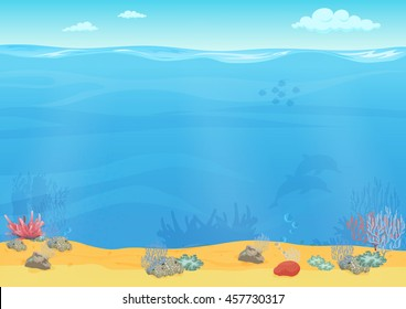 Cartoon sea bottom background for game design. Underwater empty seamless landscape