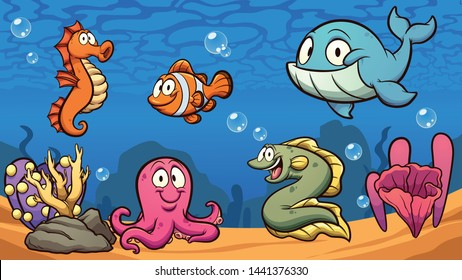 Cartoon sea creatures clip art. Vector illustration with simple gradients. Some elements on separate layers. \r\n