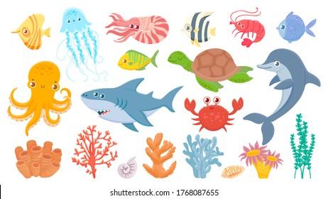Cartoon sea life. Cute sea fish, aquatic corals, jellyfish and octopus. Funny shark and dolphin. Ocean crab, sea turtle and shrimp vector illustration set. Marine life with creatures seagrass or algae