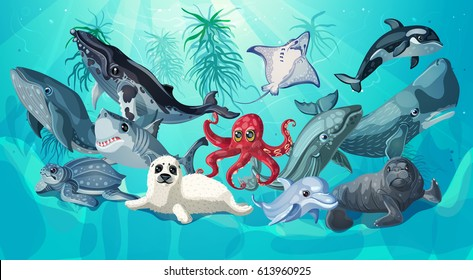 Cartoon sea and ocean life template with underwater animals on nature marine landscape vector illustration
