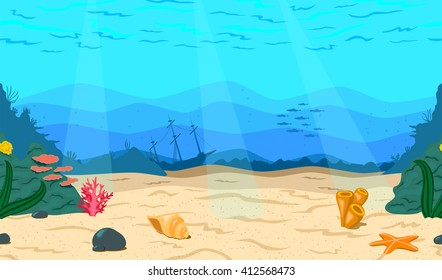 Cartoon sea, ocean. The seabed for the game. Horizontal seamless coral reef. Nautical background. Underwater world.