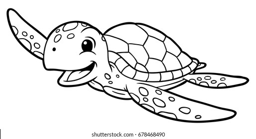 Cartoon Sea Turtle Line Art