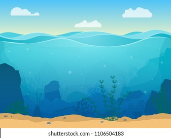 Cartoon Sea Underwater Nature Scene Color Background Web Flat Design with Seaweed and Sand Place for Text. Vector illustration of Undersea Landscape