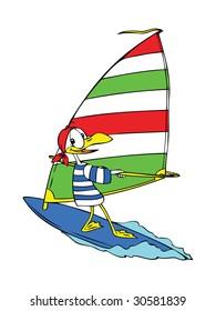 Cartoon seagull wind surfing happily on the sea.