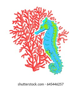 Cartoon seahorse with coral, in the sea. Vector image for prints, clothes and postcards